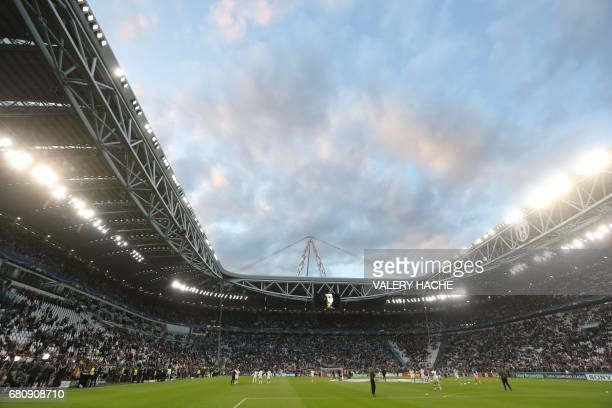 A photo shows an overall view of the stadium ahead of the UEFA Champions League semi final second leg football match Juventus vs Monaco on May 9 2017...