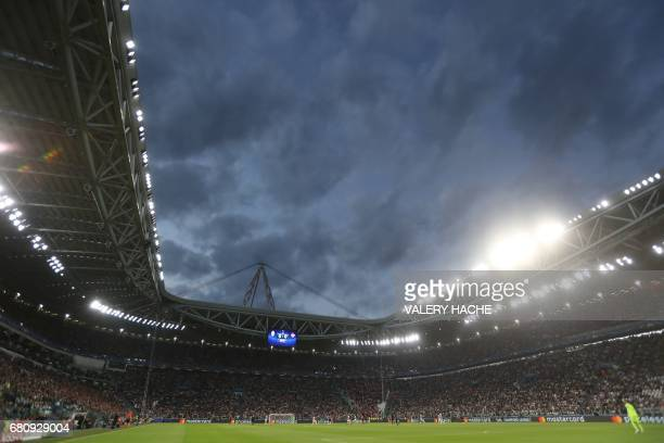 A photo shows an overall view of the stadium during the UEFA Champions League semi final second leg football match Juventus vs Monaco on May 9 2017...