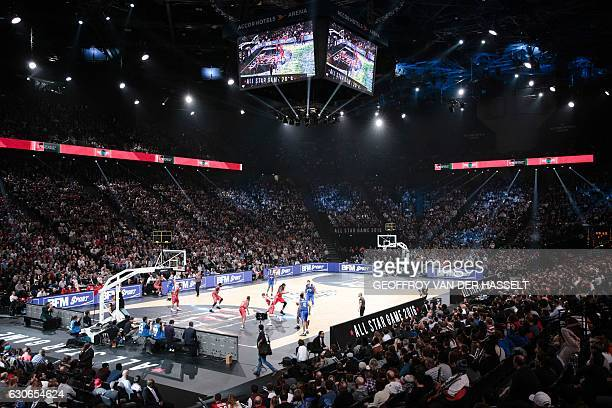 A photo shows an overview of the arena during an All Star Game basketball match of the French Ligue Nationale de Basket between a selection of the...