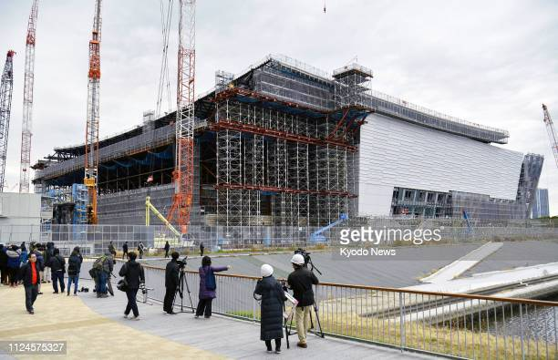 Photo shows Ariake Arena a 2020 Olympics and Paralympics venue for volleyball and other sports under construction in Tokyo on Feb 12 2019 ==Kyodo