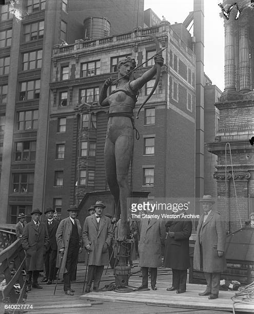 Photo shows Augustus SaintGaudens statue of Diana after its removal while the demolition of Madison Square Garden II was underway in New York New...