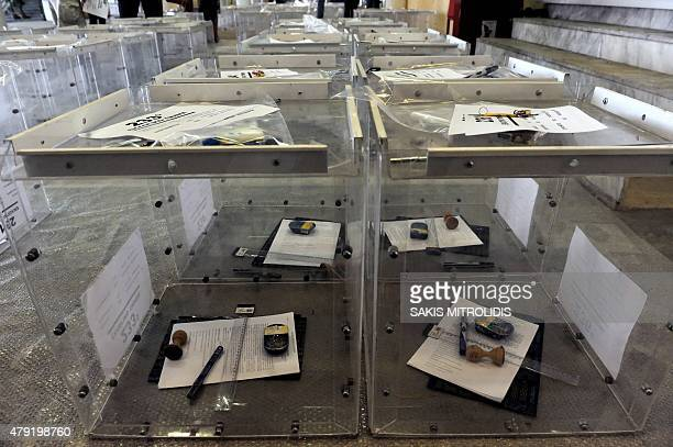 A photo shows ballot boxes in a warehouse in Thessaloniki on July 2 ahead of a controversial bailout referendum Greece's radical left government...