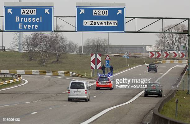 A photo shows cars on a blocked highway near Zaventem Brussels National airport on March 22 2016 after two explosions rocked the main hall of...