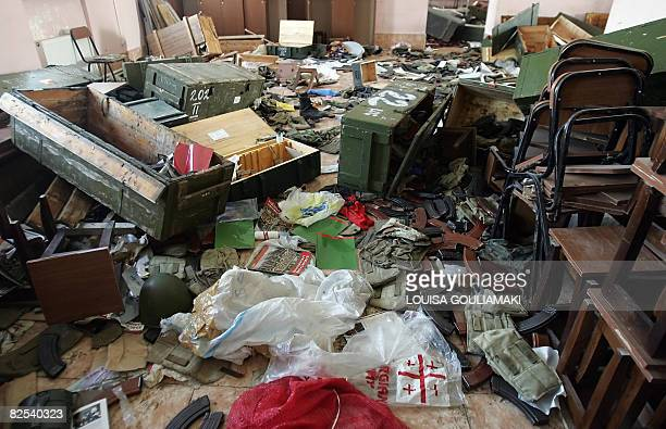Photo shows destroyed Georgian army equipment in the army barracks after Russian troops left the occupied Military airbase in Senaki on August 23...