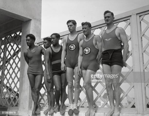 Photo shows Duke Kahanamoku Charles Pung Pua Keoloha Johnny Weismuller Harold Krueger and jack Robertson certain point winners for Uncle Sam in the...