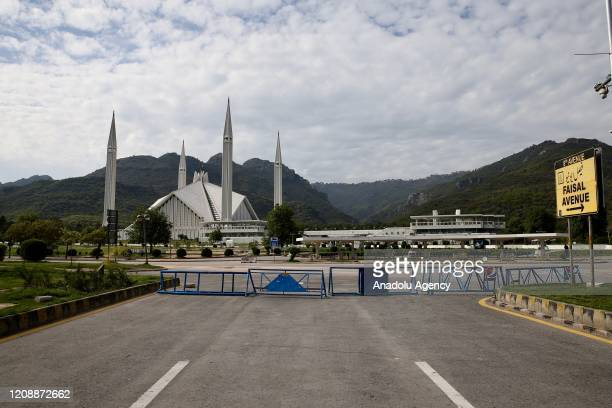 Photo shows empty surroundings of Faisal Mosque after preventive measures against the coronavirus were taken in Islamabad, Pakistan on April 01, 2020.