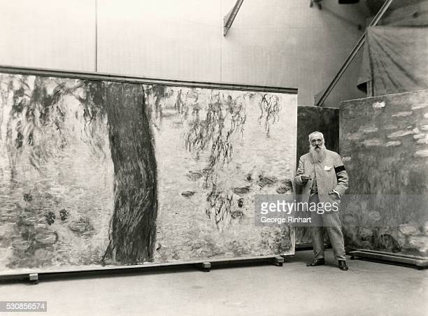 Photo shows famous mural Nympheas gift of the artist Claude Monet to the French government to be permanently installed in a pavilion in the Tuileries...