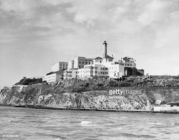 Photo shows general view of the penitentiary on Alcatraz Island.