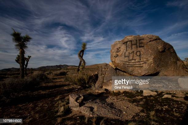 Photo shows graffiti on a rock inside the Joshua Tree park. That graffiti was first reported in October and has since been removed.