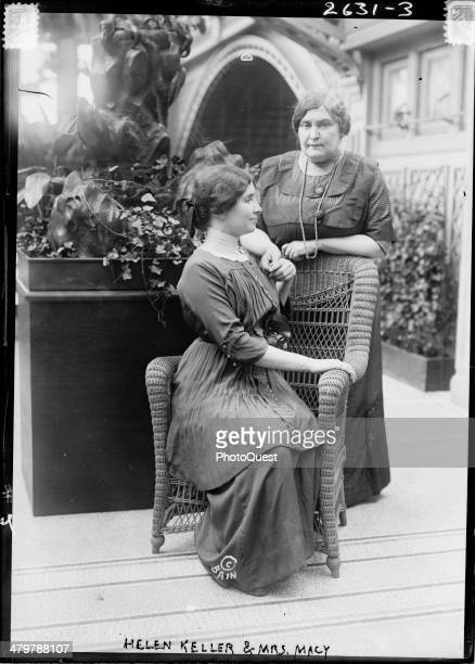 Photo shows Helen Keller with her teacher Anne Sullivan Macy possibly at the International Flower Show New York New York April 1913