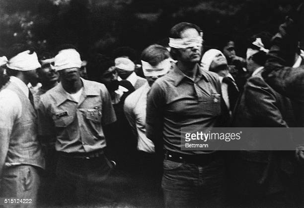 Photo shows Hostages photographed inside the United States embassy compound as they are led outside the building, blindfolded on the first day of the...
