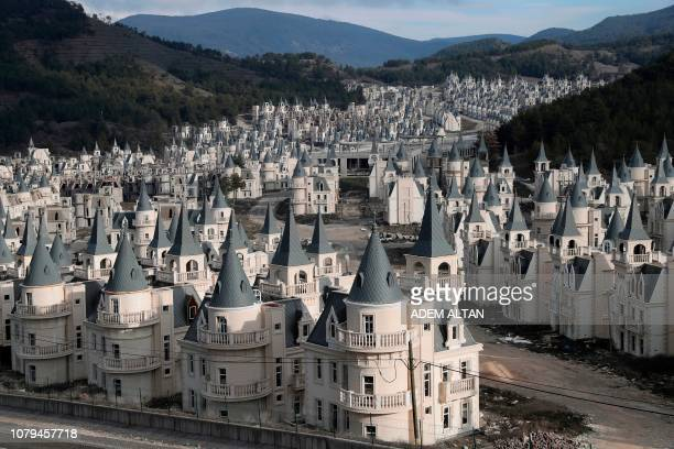 Photo shows hundreds of houses part of the Sarot Group's Burj Al Babas project on December 15, 2018 close to the town centre of Mudurnu in the Bolu...