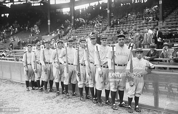 Photo shows left to right, Benny Bengough, Waite Hoyt, Lou Gehrig, Tony Lazzeri, Joe Dugan, Mark Koenig, Bob Meusel, Earl Combs, Babe Ruth and Eddie...