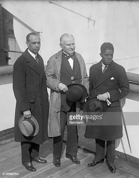 Photo shows left to right James Weldon Johnson Walter Damrosch and Roland Hayes at the presentation of the Spingarn Medal to Mr Hayes The Spingarn...