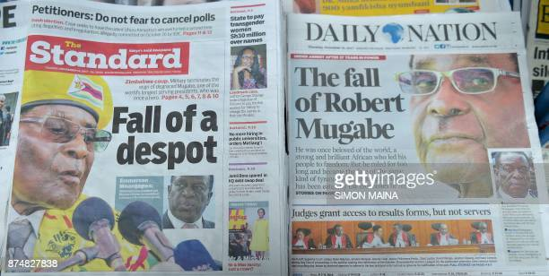 A photo shows local dailies with headlines about the situation in Zimbabwe on November 16 in Nairobi Zimbabweans were weighing an uncertain future...