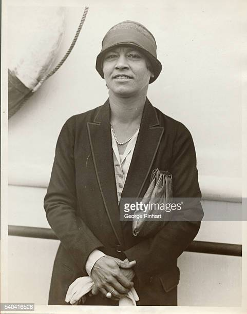 Photo shows Miss Molla Mallory former American Women's Tennis Champion and a competitor in the Wimbledon Tennis Matches arriving on the SS Majestic