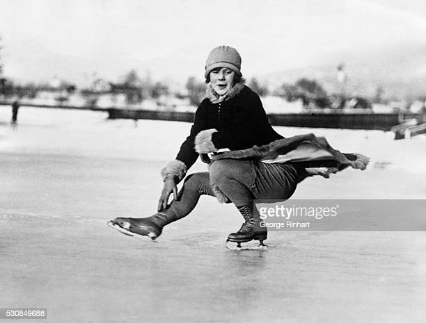 Photo shows Miss Sonja Henie 16 years old of Norway who surprised the skating world by defeating Miss Beatrix Loughran of the United States in the...