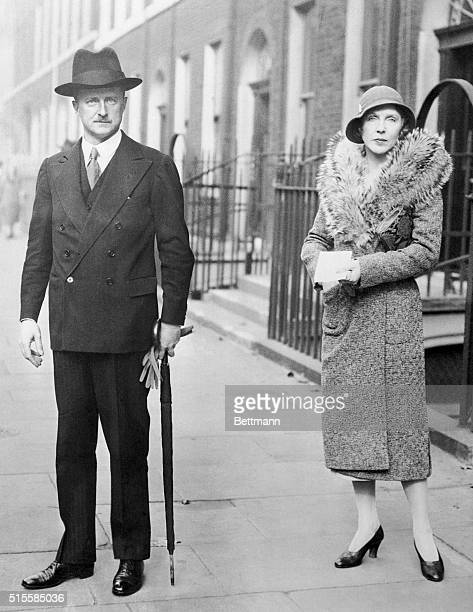 Photo shows Mr A Duff Cooper with his wife Diana leaving their London home to hand in the nomination papers at the Westminster City Hall