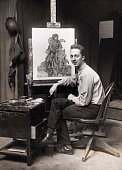 Photo shows painter norman rockwell seated in front of one of his picture id530844364?s=170x170