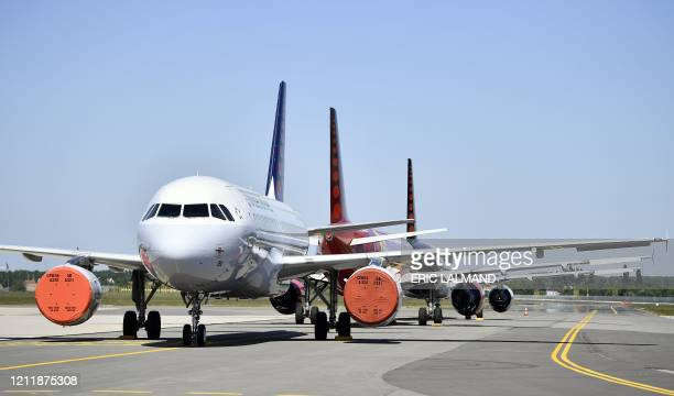 A photo shows parked aircrafts of Brussels Airlines at Brussels Airport in Zaventem on May 5 2020 on the eighth week of lockdown which is also the...