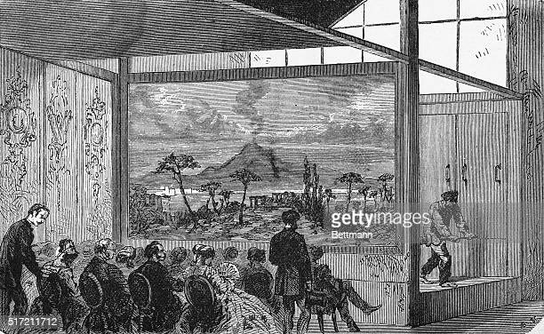 Photo shows people watching Daguerre's diorama Undated illustration