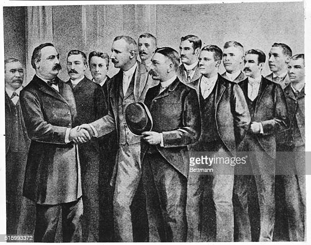Photo shows President Grover Cleveland shaking hands with Cap Anson's Chicago White Stockings baseball team Screened photograph ca 1880