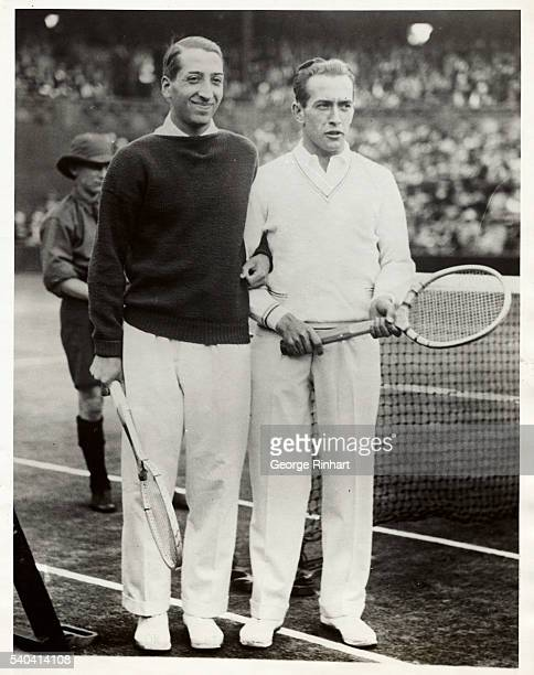 Photo shows Rene LaCoste and Henri Cochet - the doubles champions at Wimbledon. LaCoste also won the singles championship at Wimbledon, and since he...