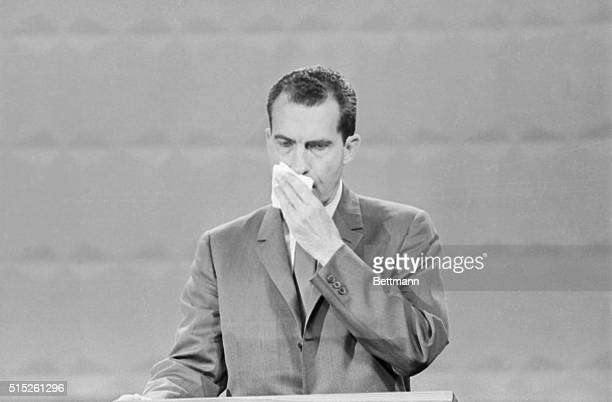 Photo shows Republican VicePresident Richard Nixon Speaking during the Presidential debate with John Kennedy nixon is shown in this close up during...