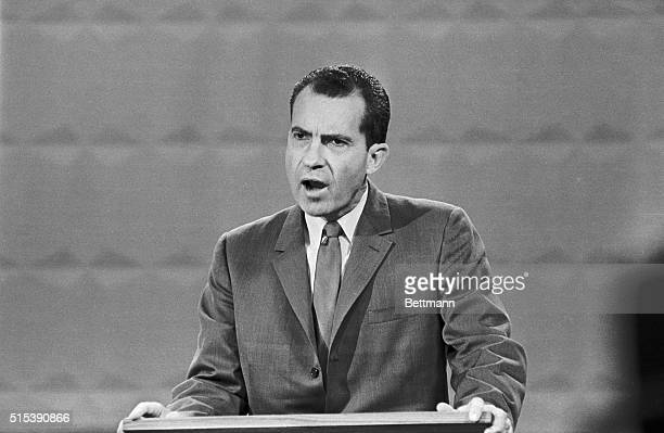 Photo shows Republican VicePresident Richard Nixon Speaking during the Presidential debate with John Kennedy Nixon is shown in this closeup during...