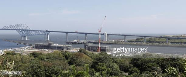 Photo shows Sea Forest Waterway a 2020 Summer Olympics and Paralympics venue for canoe and rowing under construction in Tokyo on Sept 5 2018 ==Kyodo