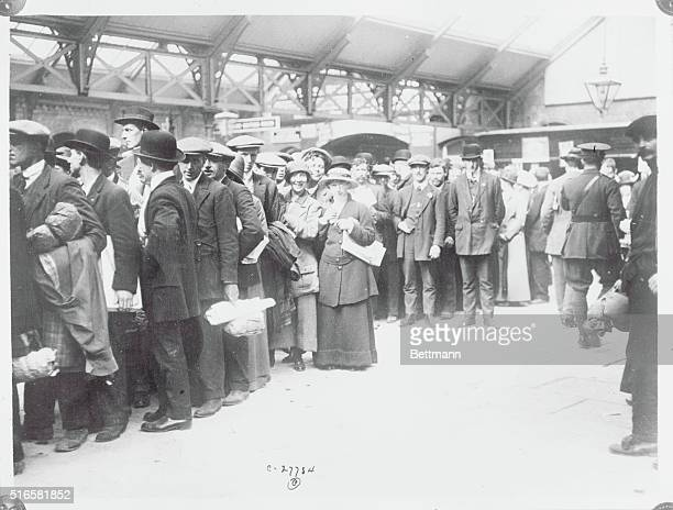 Photo shows survivors of the Lusitania at the Queenstown station ready to proceed to London