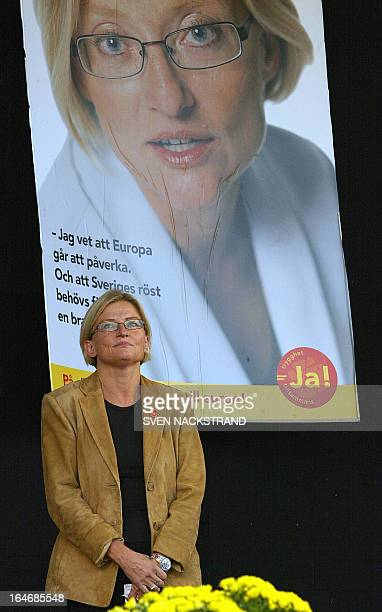photo shows Swedish Foreign Minister Anna Lindh as she adresses a rally for the 'JA' to the Euro camp 09 September 2003 in Stockholm five days before...