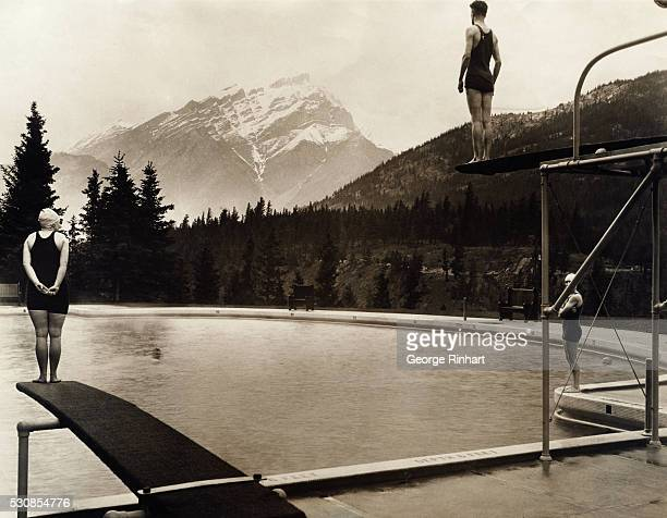 Photo shows the beautiful circular outdoor swimming pool at the Banff Springs Hotel which is said to have the finest swimming pool equipment on the...