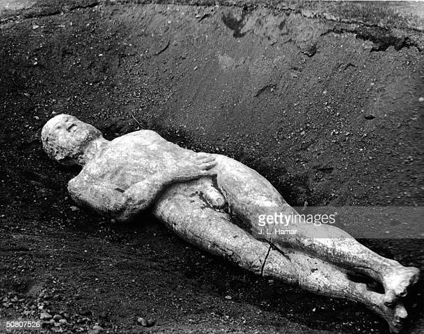 Photo shows the body of the Cardiff Giant on display at the Farmer's Museum, Cooperstown, New York, where it went on display in May of 1948. The...