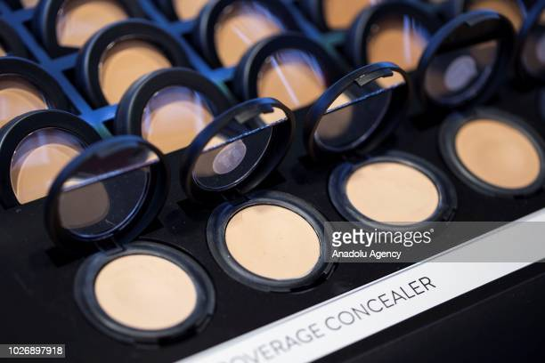 Photo shows the close-up of a various types of coverage concealer jars at a make-up and cosmetic products shop in Ankara, Turkey on September 04,...