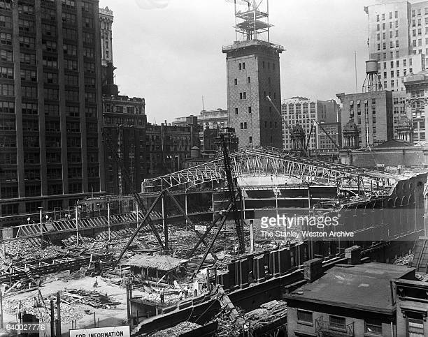 Photo shows the demolition of Madison Square Garden II in New York, New York, May, 1925.