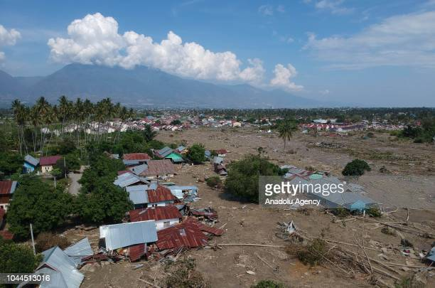 A photo shows the destroyed houses in two villages namely Petobo and Sempanao due to an earthquake measuring 77 SR and the tsunami wave in Palu...