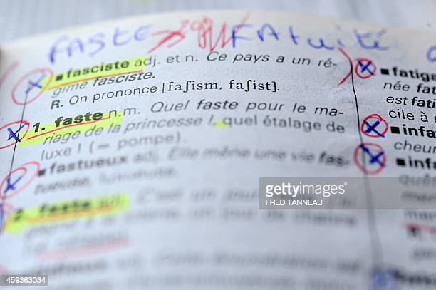 Photo shows the dictionary of Gerard Louviot in Plougonven western of France on November 6 2014 Louviot who learned to read only ten years ago...