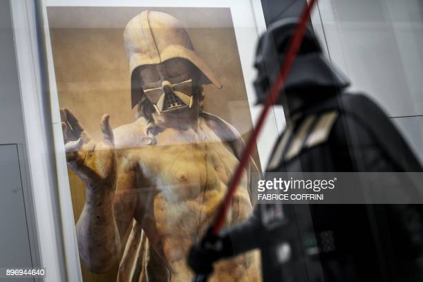 A photo shows the digital photography piece 'Darth Resurrection' by French artist Travis Durden at science fiction museum The Maison d'Ailleurs...