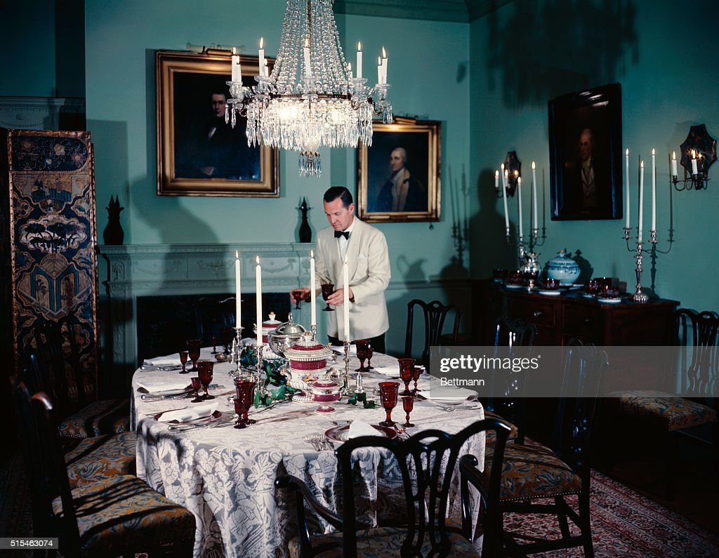 Photo shows the dining room at Blair House  Albert, the butler, is