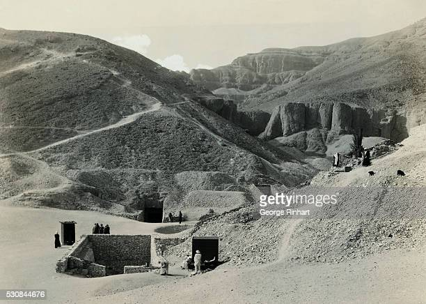 Photo shows the entrance to King Tut's tomb in the valley of the tombs of the Kings where twenty dynasties are buried