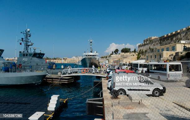 A photo shows the Hay Wharf maritime base in Floriana Malta on September 30 2018 after the arrival of a group of 58 migrants picked up from small...