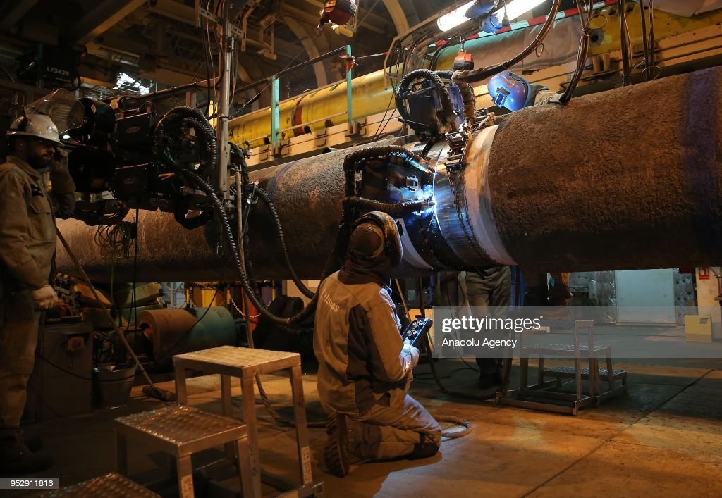 a photo shows the inside view of pioneering spirit vessel in