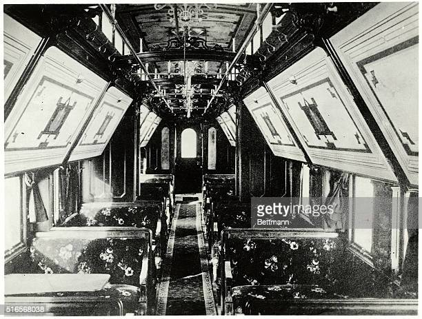 Photo shows the interior of a Pullman Palace sleeping car Ca 1902