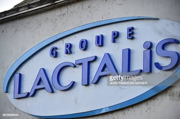 A photo shows the Lacatlis logo at the group's headquarters in Laval northwestern France on January 17 2018 French police raided the headquarters of...