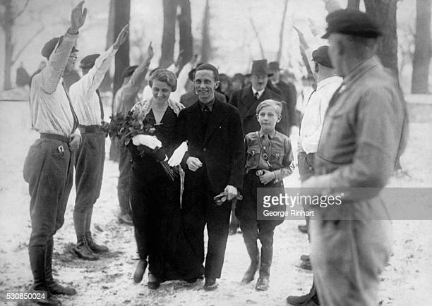 Photo shows the leader of the Berlin National Socialists Dr Joseph Goebbels who has married Frau Magda Ritschel The wedding has taken place secretly...