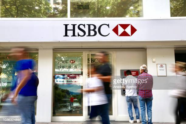 A photo shows the logo and bank sign board of 'HSBC' in Ankara Turkey on September 20 2018