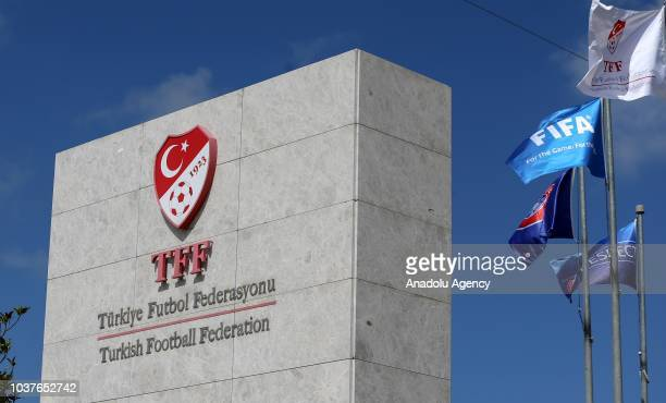Photo shows the logo and sign board of 'Turkish Football Federation' in Istanbul, Turkey on September 22, 2018.