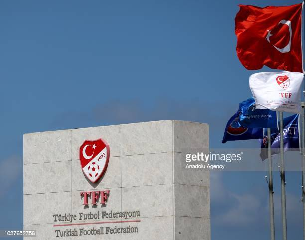 Photo shows the logo and sign board of 'Turkish Football Federation' and flags of Turkey, TFF, FIFA and UEFA in Istanbul, Turkey on September 22,...