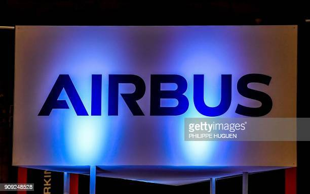 A photo shows the logo of European multinational aeronautics company Airbus during the 10th International Cybersecurity Forum in Lille on January 23...